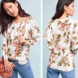 Harlyn Anthro Floral Ruffled Long Sleeve Sweater